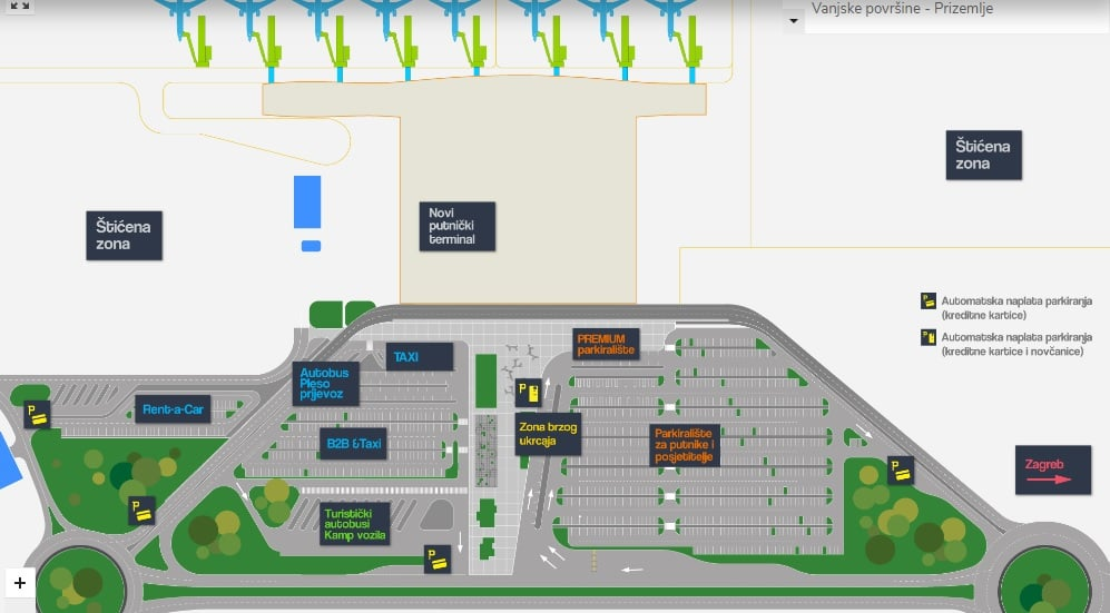 Mapa terminala lotniczego w Zagrzebiu