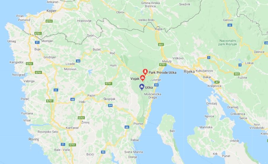 Park Przyrody Ucka - mapa Google