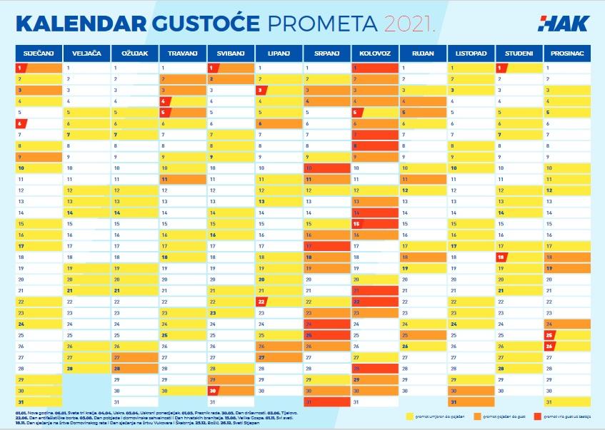 Kalendarz natężenia ruchu Chorwacja 2021