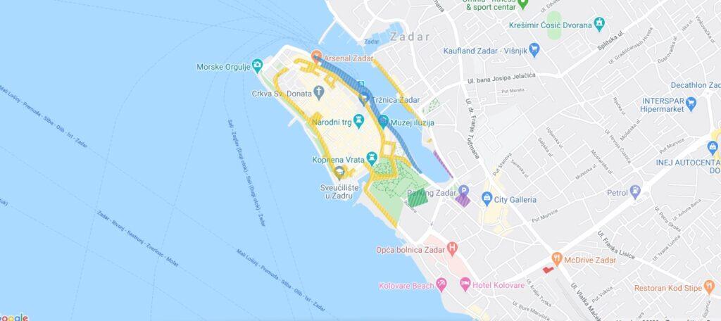 Mapa parkingi Zadar