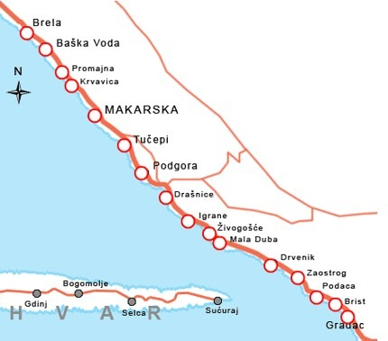 Riwiera Makarska mapa