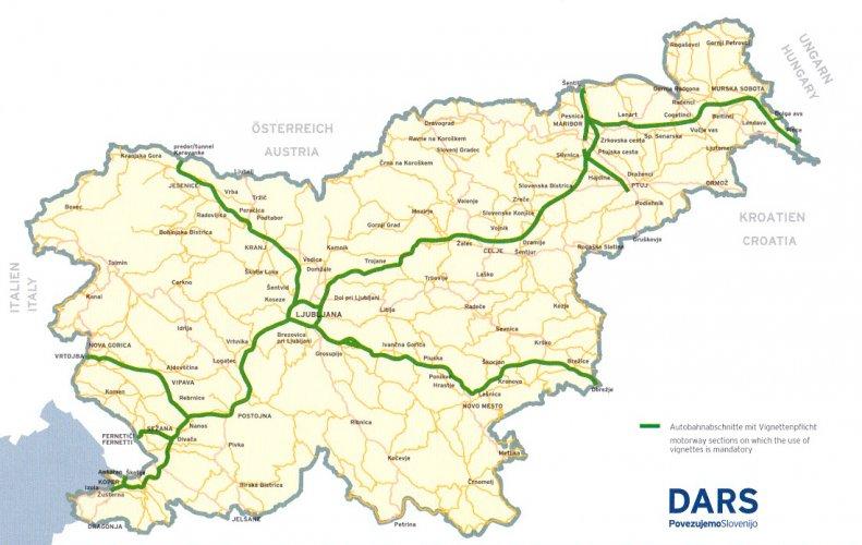 Mapa dróg płatnych w Słowenii