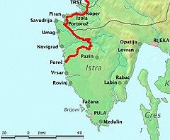 Parenzana mapa - trasa