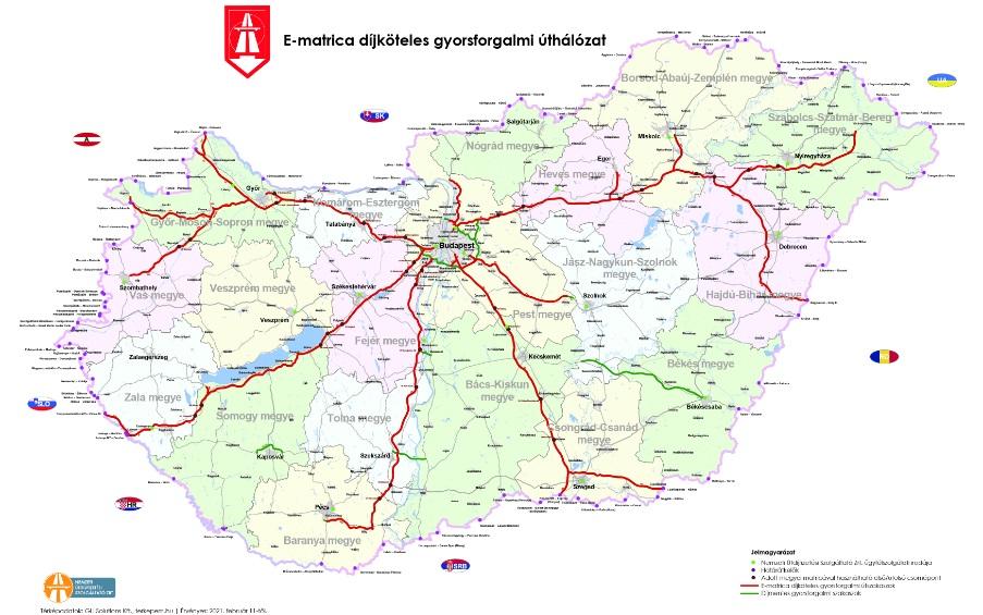 Mapa autostrad Węgry